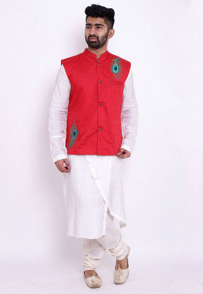 Embroidered Art Silk Kurta Jacket Set in White and Red