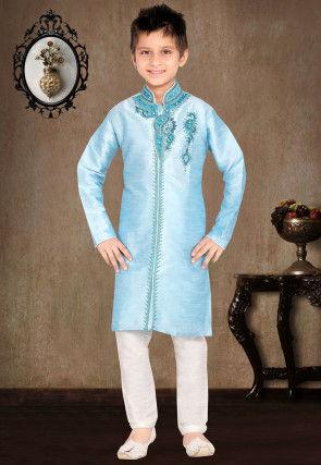 Embroidered Art Silk Kurta Pyjama Set in Sky Blue