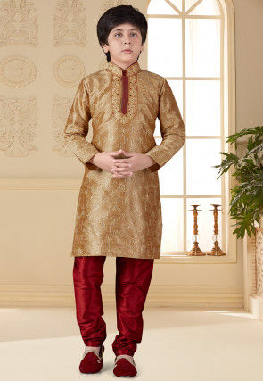 Embroidered Art Silk Kurta Set in Beige