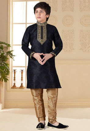 Embroidered Art Silk Kurta Set in Black