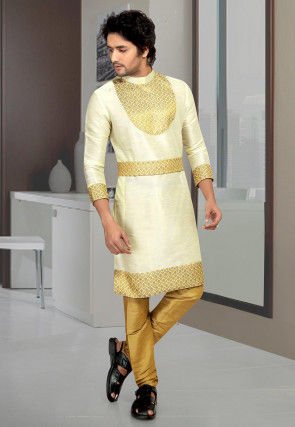 Embroidered Art Silk Kurta Set in Cream