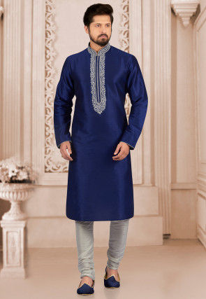 Embroidered Art Silk Kurta Set in Dark Blue