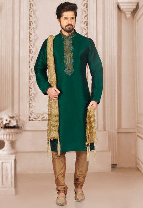 Embroidered Art Silk Kurta Set in Dark Green