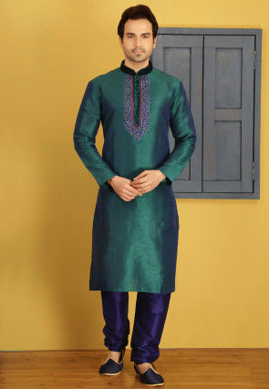 Embroidered Art Silk Kurta Set in Dark Teal Green