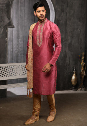 Embroidered Art Silk Kurta Set in Dusty Pink