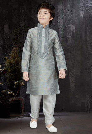 Embroidered Art Silk Kurta Set in Grey