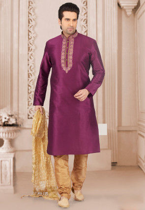 Embroidered Art Silk Kurta Set in Magenta