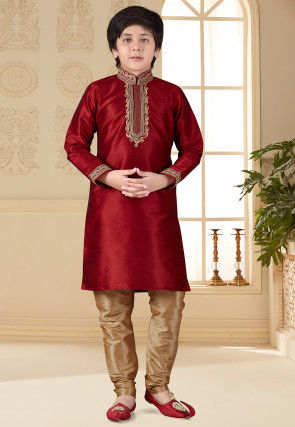 Embroidered Art Silk Kurta Set in Maroon