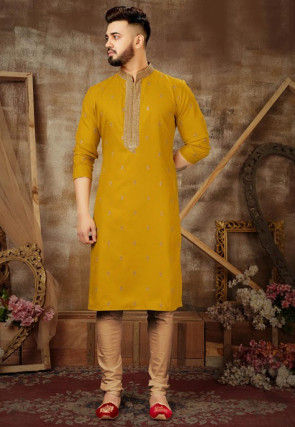 Embroidered Art Silk Kurta Set in Mustard