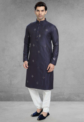 Embroidered Art Silk Kurta Set in Navy Blue