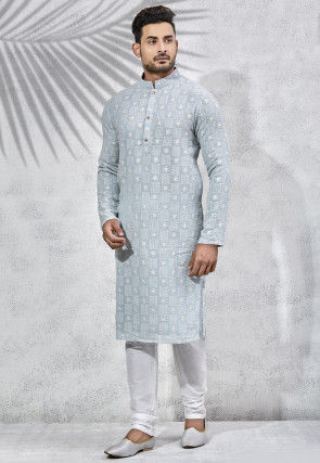 Embroidered Art Silk Kurta Set in Pastel Blue