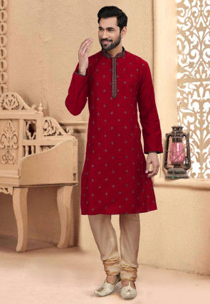 Embroidered Art Silk Kurta Set in Red