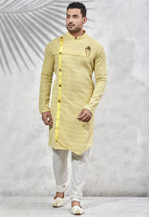 Embroidered Art Silk Kurta Set in Yellow