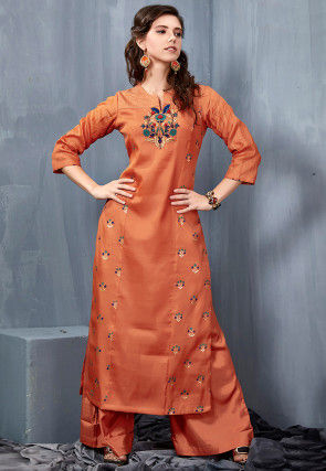 Embroidered Art Silk Kurta with Palazzo in Rust