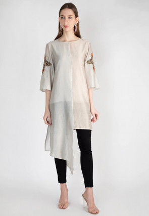 Embroidered Art Silk Kurta with Pant in Grey and Peach
