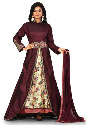 Embroidered Art Silk Layered Abaya Style Suit in Maroon and Beige