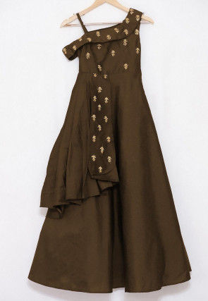 Embroidered Art Silk Layered Kids Gown in Brown