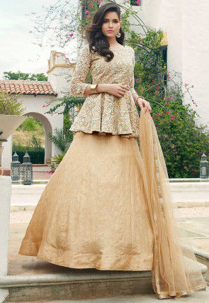 Embroidered Art Silk Lehenga in Beige