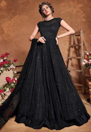 Embroidered Art Silk Lehenga in Black