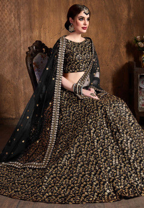 Embroidered Art Silk Lehenga in Black
