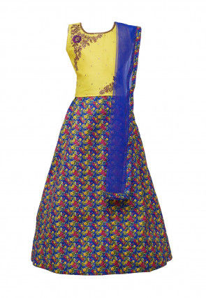 Embroidered Art Silk Lehenga in Blue and Multicolor