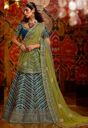 Embroidered Art Silk Lehenga in Blue