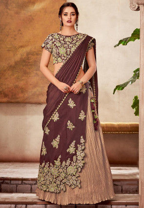 Embroidered Art Silk Lehenga in Brown and Peach