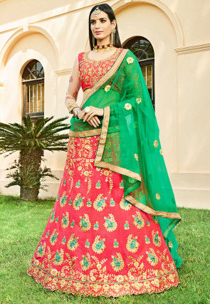 Embroidered Art Silk Lehenga in Coral Pink