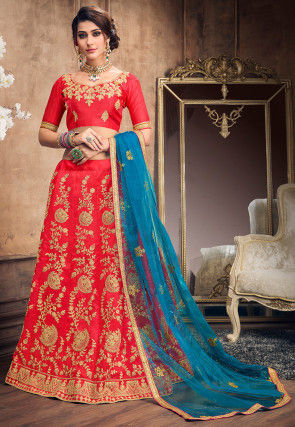 Embroidered Art Silk Lehenga in Coral Red