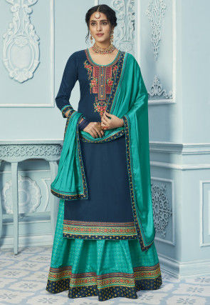Embroidered Art Silk Lehenga in Dark Blue