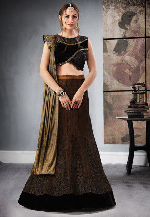 Embroidered Art Silk Lehenga in Dark Brown