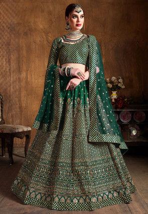 Embroidered Art Silk Lehenga in Dark Green