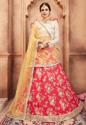 Embroidered Art Silk Lehenga in Dark Pink