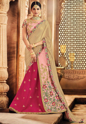 Embroidered Art Silk Lehenga in Fuchsia and Baby Pink