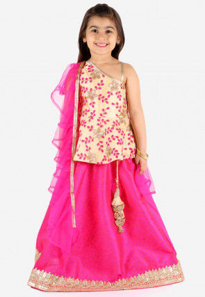 Embroidered Art Silk Lehenga in Fuchsia