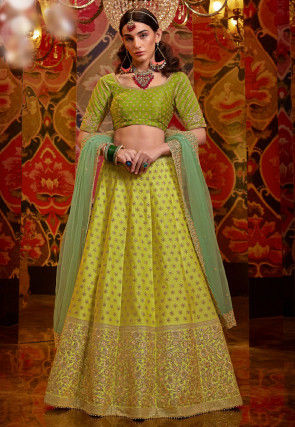 Embroidered Art Silk Lehenga in Green