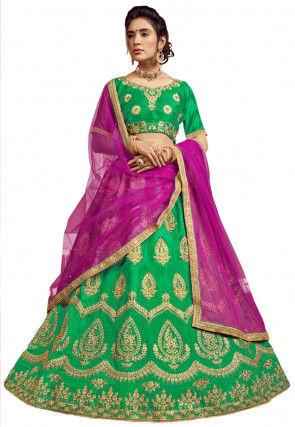 Embroidered Art Silk Lehenga in Green