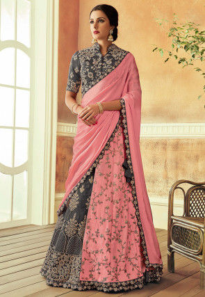 Embroidered Art Silk Lehenga in Grey and Pink