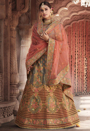 Embroidered Art Silk Lehenga in Grey