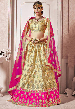 Embroidered Art Silk Lehenga in Light Beige