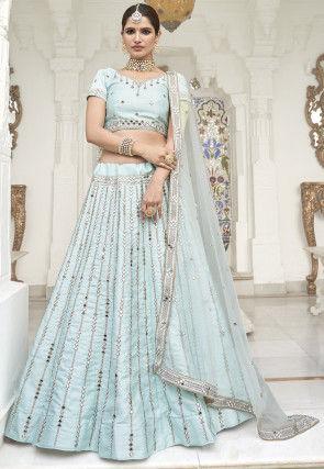 Embroidered Art Silk Lehenga in Light Blue