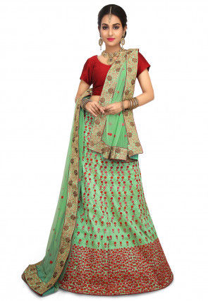 Embroidered Art Silk Lehenga in Light Green