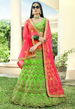 Embroidered Art Silk Lehenga in Light Green