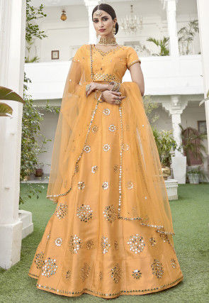 Embroidered Art Silk Lehenga in Light Mustard