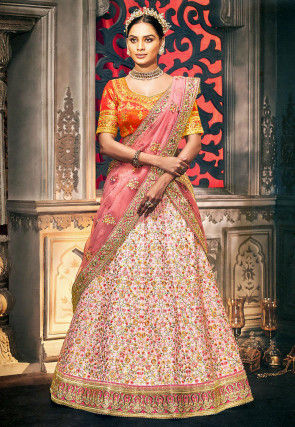 Embroidered Art Silk Lehenga in Light Pink