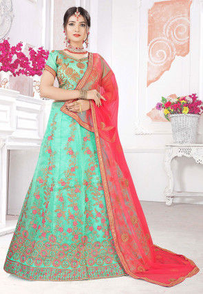 Embroidered Organza Lehenga in Light Teal Green