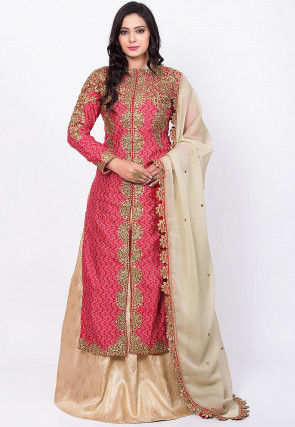 Embroidered Art Silk Lehenga in Maroon