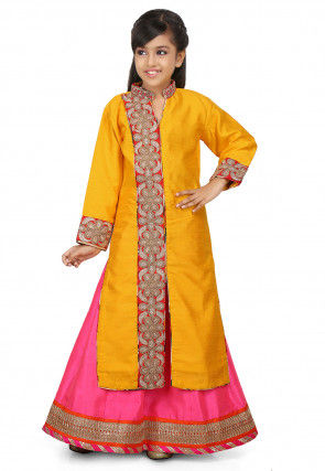 Embroidered Art Silk Lehenga in Mustard