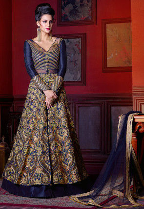 Embroidered Art Silk Lehenga in Navy Blue and Beige