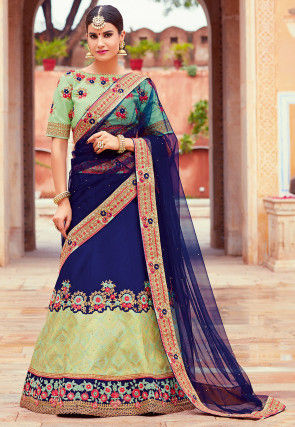 Embroidered Art Silk Lehenga in Navy Blue and Pastel Green